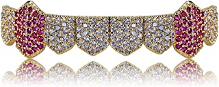 Hip Hop Grills Gold Silver Color Iced Out Micro Pave Full CZ Teeth Grillz Bottom Grills Charm For Men Women Jewelry
