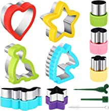 12 Pieces Stainless Steel Sandwiches Cutters Set Food Grade Unicorn Dinosaur Heart Star Shapes Sandwich Vegetable Fruit Cookie Cutter with Demolding Stick Fork Brush