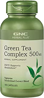 GNC Herbal Plus Green Tea Complex 500mg California Only, 100 Capsules, Supports Metabolism