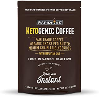 Rapid Fire Ketogenic High Performance Instant Coffee Mix, Supports Energy and Metabolism, 15 Servings