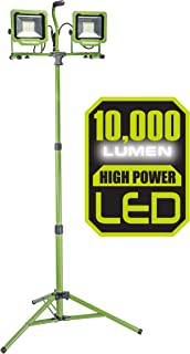 PowerSmith PWL2100TS 10,000 Lumen LED Dual Head Work light with Adjustable Metal Telescoping Stand Green