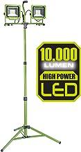 PowerSmith PWL2100TS 10000 Lumen Weatherproof LED Dual Head Work Light with Heavy-Duty Adjustable Metal Telescoping Tripod...