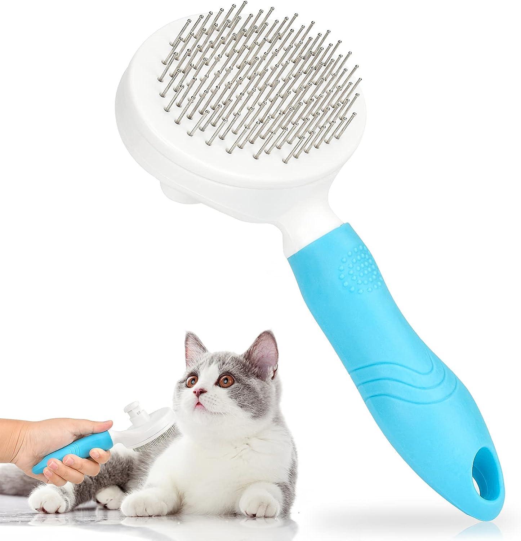 Cepillo de Perro,Cepillo Gatos,Cepillo Mascotas, Peine autolimpiante,peine gatos,cepillo profesional para el cuidado de mascotas, adecuado para perros y gatos de pelo corto o largo. (size2)
