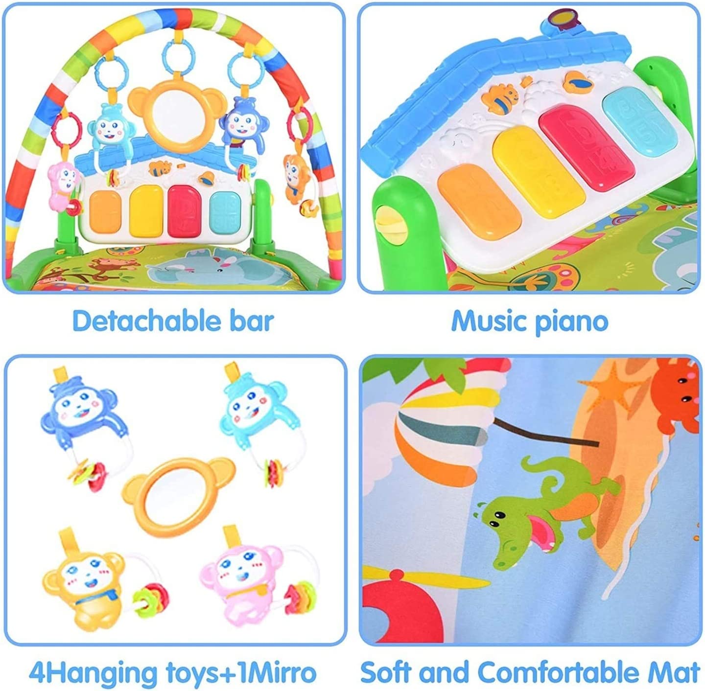 Jungle Gym Mat for Infants,Early Education Toys for Tummy Time Boys and Girls Aged 0 to 24 Months Color : Blue-Thick Mat Baby Gym Play Mats,Kick and Play Piano Gym with Music and Lights