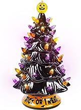 "Blissun 12"" Halloween Decorations Ceramic Tree, Hand-Painted Black Christmas Tree, Battery Powered Tabletop Halloween Ligh..."