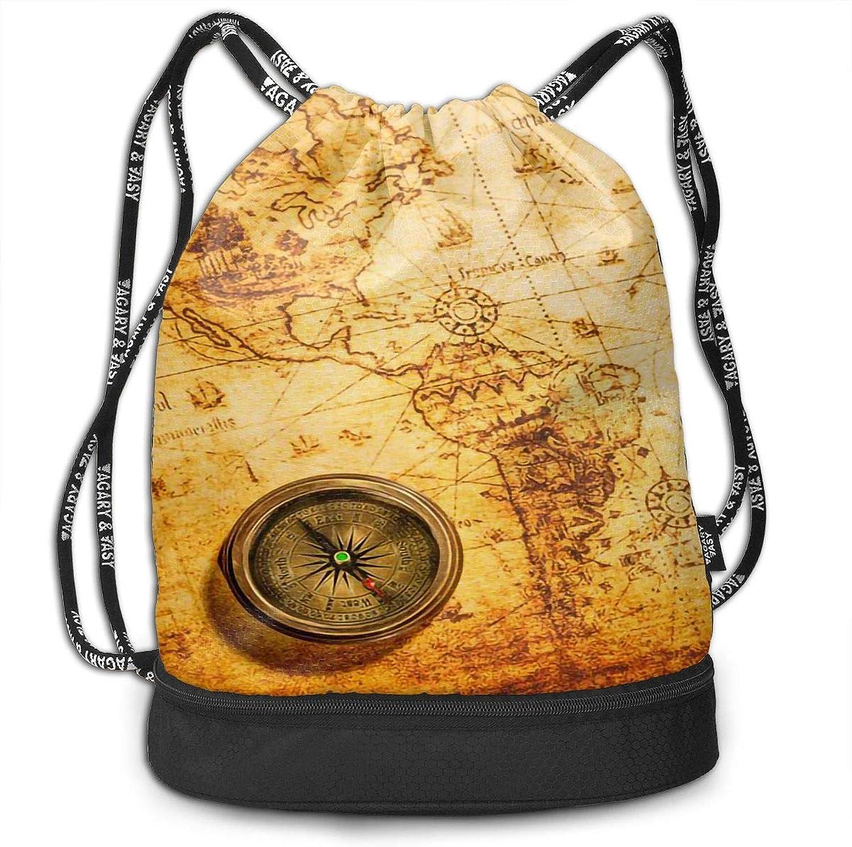 Drawstring Backpack Vintage Old World Map Compass Shoulder Bags