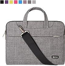 Qishare 13.3-14 Pulgadas Multifuncional portátil Hombro Bolsa maletín portátil de Ordenador portátil Caso Portador de la Ordenador portátil Messenger Caso(13.3-14 Pulgadas,Líneas Grises)