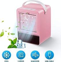 MXJFYY Acondicionador de Aire Portatil Enfriador de Aire Silencioso Air Cooler Humidificador con 3 Velocidades para Oficina en Casa (Rosado)