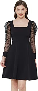 BEBE Black Mesh Puff Sleeve Solid Fit and Flare Dress