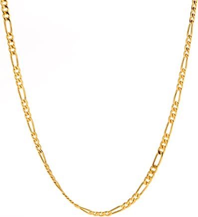 Lifetime Jewelry Figaro Chain 2.5MM, 24K Gold with Inlaid Bronze, Pendant Necklace, 16 to 30 Inches