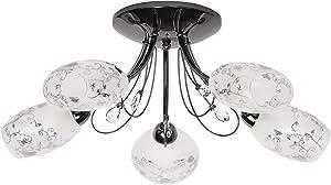 Lampada da soffitto, moderna, nera, nichelata, 5luci con paralume in vetro, modello in cristallo trasparente, non include 5x60W E14