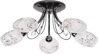 Lámpara de techo moderna, color negro y níquel, 5 focos, pantalla de cristal con patrón transparente, 5 x 60 W E14
