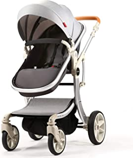 Baby Stroller Compact Reversible Bassinet Pram Strollers Foldable Citi Carriage All Terrain Convenience Pushchair Lux Boy Girl Stroller for Infant and Toddler (Grey)