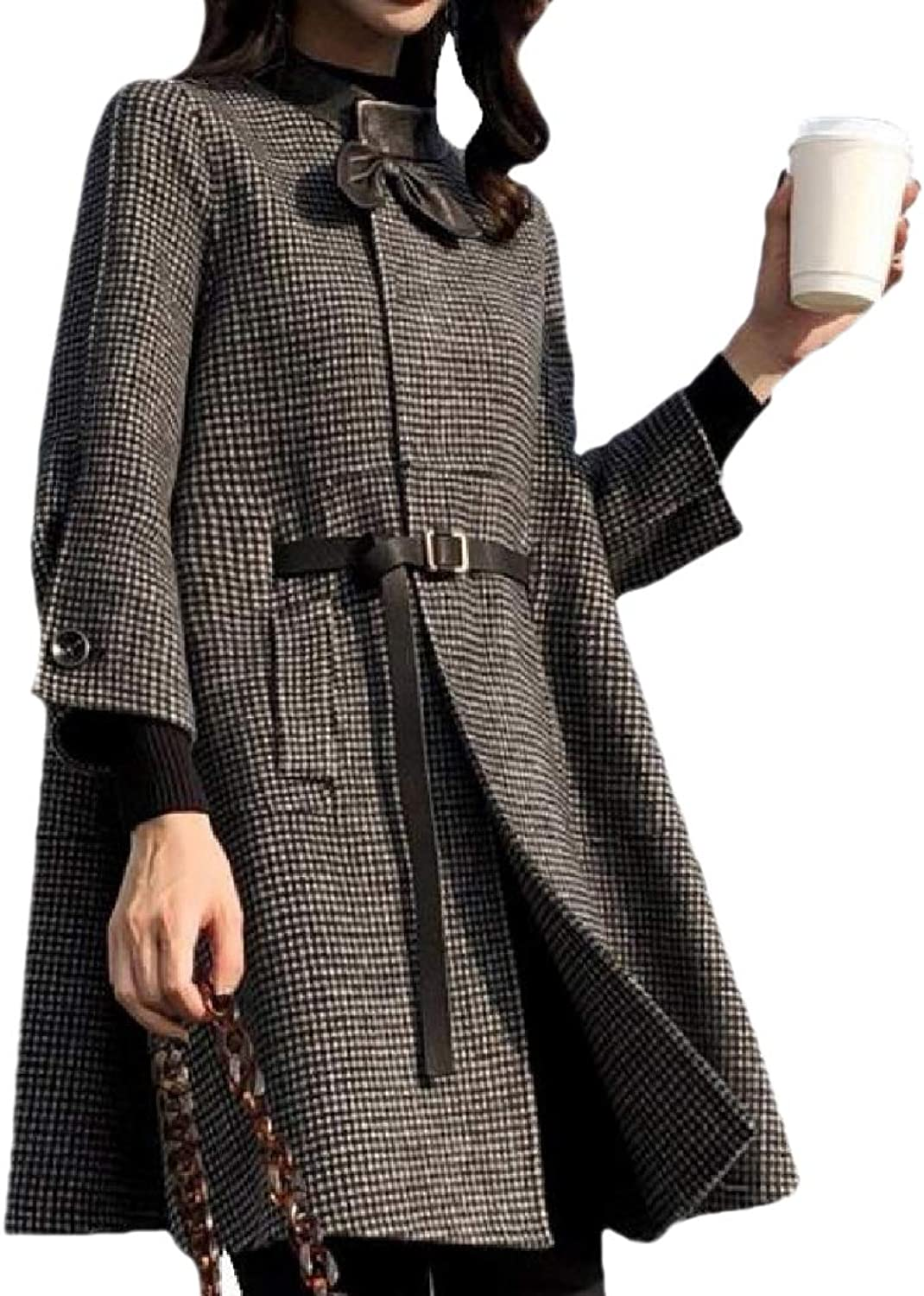 Baseby Womens Mid Long Single Button Poncho Houndstooth Trench Coat Jacket