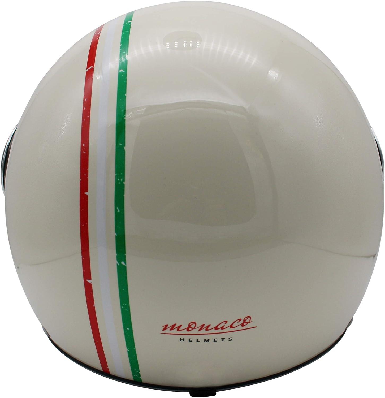 Retro Pilot-Helm f/ür Brillen-Tr/äger Qualit/ät nach ECE-Norm Roller-Helm f/ür Frauen und Herren im Vintage-Look S Creme- Italia MONACO Jet-Helm mit Visier Motorrad-Helm