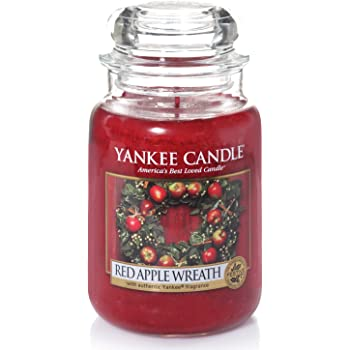 Yankee Candle Candela profumata in giara grande | Red Apple Wreath | Durata Fino a 150 Ore