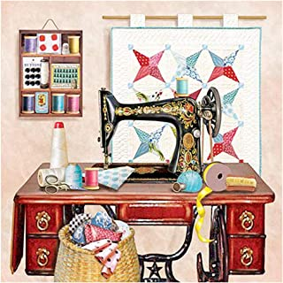 HuaCan Diamond Painting Kits for Adults DIY 5D Full Square Drill Sewing Machine Picture Crystal Rhinestone Photos Embroidery Pictures Arts Craft for Home Wall Decor 40x40cm/15.7x15.7in