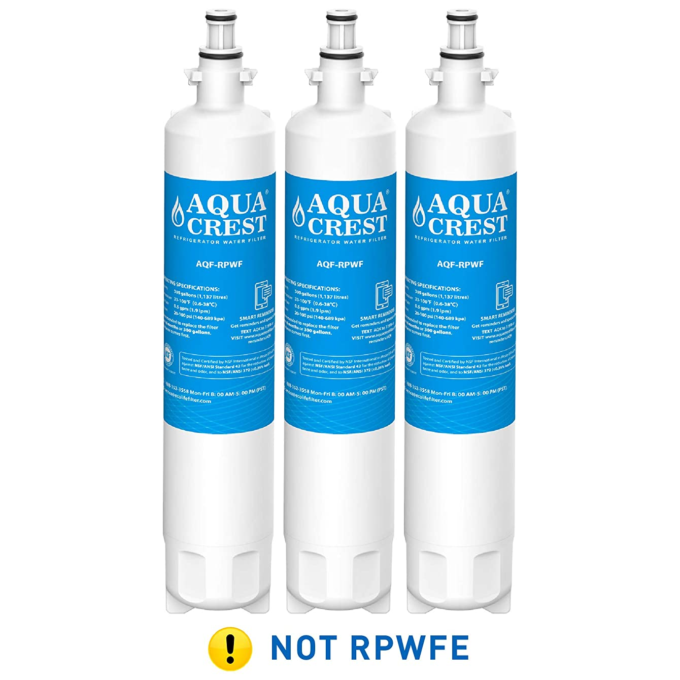 AQUACREST Replacement RPWF Refrigerator Water Filter, Compatible with GE RPWF (Pack of 3) (NOT RPWFE)
