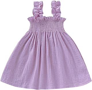 e27f7817a14a YOUNGER TREE Toddler Baby Girls Summer Cotton Lace Sleeve Princess Overall  Dress Backless Sundress