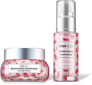 Hanhoo - Watermelon Illuminator Set   Daytime Facial Oil and Overnight Serum - Skincare for a Glowing Complexion - For All Skin Types (1 of Each)