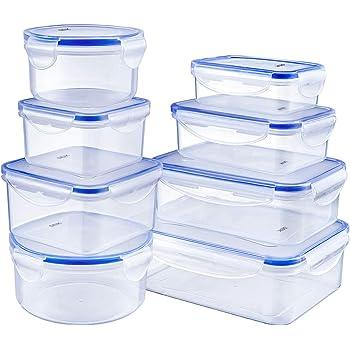 DEIK Fiambreras, Contenedores de Alimentos, Set de Recipientes Herméticos, 8 Piezas, Sin BPA, Apta para lavavajillas, congelador, Tamaños variados, Color transparente: Amazon.es: Hogar