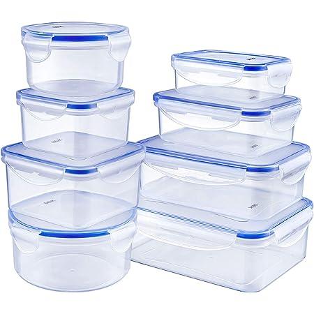 Deik Boîte Alimentaire, Set de boîte de Conservation Alimentaire, Conteneur Alimentaire Plastique avec couvercles hermétiques Lot de 8, Compatible avec Lave-Vaisselle