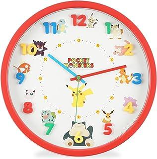 ポケットモンスター 掛け時計 アナログ 連続秒針 立体文字盤 レッド