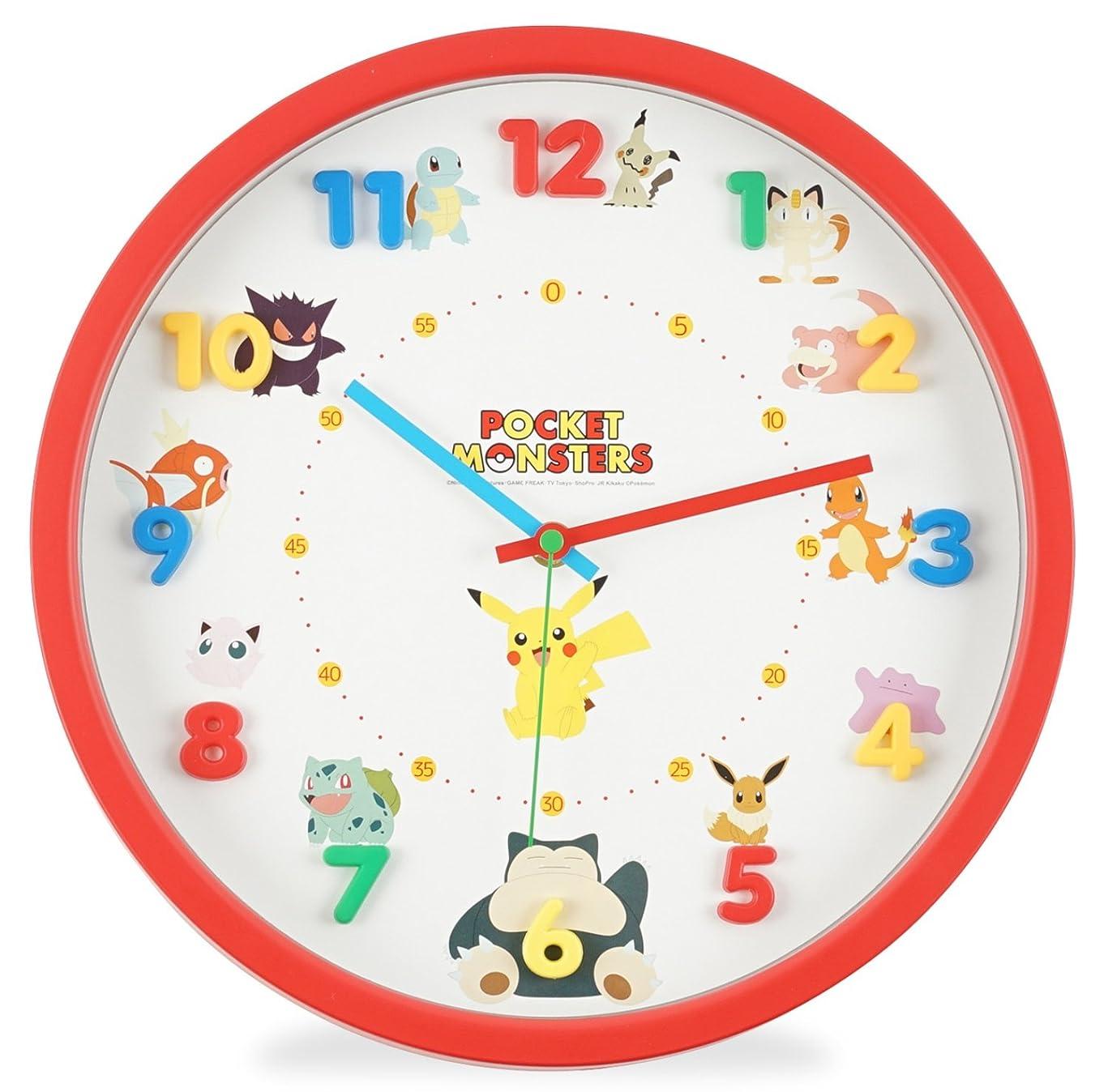 カスタムオーバーフロー平等ポケットモンスター 掛け時計 アナログ 連続秒針 立体文字盤 レッド