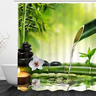 Bathroom Shower Curtain Bathroom Curtain Bamboo Water Zen Durable Fabric Bath Curtain Bathroom Accessories Ideas Kitchen Window Curtain with 12 Hooks (Zen Jasmine Bamboo 2, 72