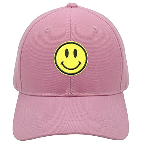 e22afb0afa49 Smiley Face Hat - Adjustable Pink Yellow Cap - Happy Smile Emoji
