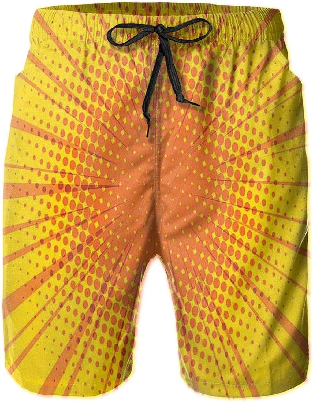 Sun Burst with Halftone Effect Comic Book Style and Pop Art Design Mens Swim Shorts Casual Workout Short Pants Drawstring Beach Shorts,XXL