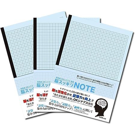 中村印刷所 水平開き(ナカプリバイン) 脳スッキリノート A4 5mm方眼 30枚 3冊セット