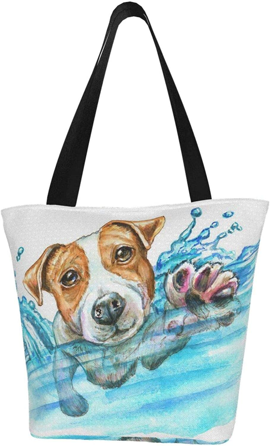 Funny Swmming Dog Cute Jack Russell Terrier Puppy Pet Themed Printed Women Canvas Handbag Zipper Shoulder Bag Work Booksbag Tote Purse Leisure Hobo Bag For Shopping