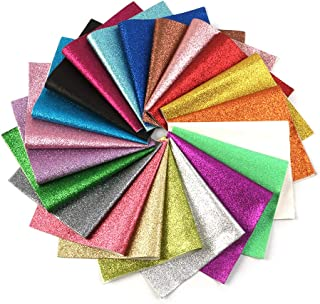 David accessories Shiny Superfine Glitter Faux Leather Sheets Solid Color Synthetic Leather Fabric 21 Pcs 8 x 13