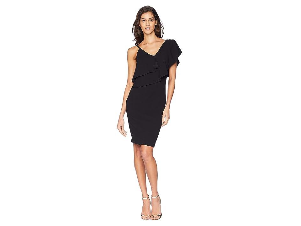 Bebe Asymmetric One Shoulder Dress (Black) Women