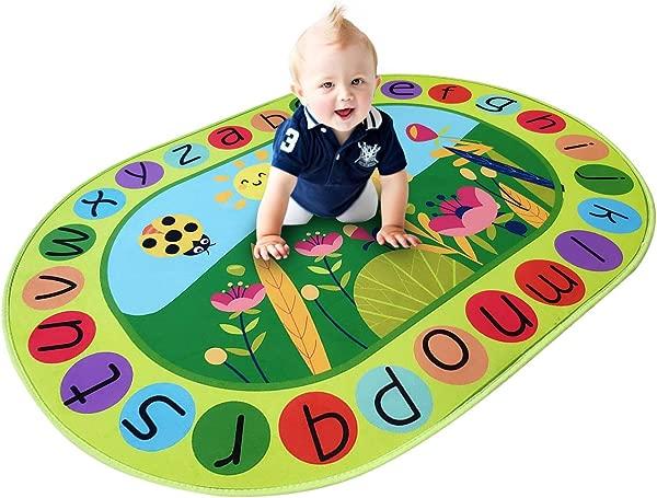 USTIDE 5 X7 Alphabet Oval Microfiber Kids Rug Red Ladybird Designer Learning Rug Lovely Kids Children Playroom Rug Mat