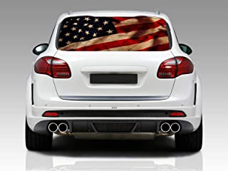 American Flag Vintage Rear Window Graphic Decal Sticker Car Truck SUV Van US 214, Large