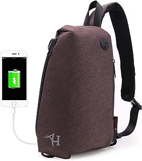 Sling Backpack, Sling Bag with USB Port for Men Water Repellent Crossbody Shoulder Backpacks Lightweight Casual Daypacks-13.3 inch, Coffee