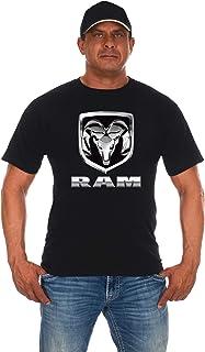 JH DESIGN GROUP Mens Dodge RAM Chrome Logo Short Sleeve T-Shirts Black Gray Colors