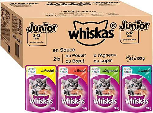 Whiskas Junior - Sachets fraîcheur pour jeune chat et chaton (2-12 mois), sélection classique en sauce, 84 sachets re...