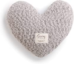 DEMDACO Taupe Grey Heart Shaped 10 x 11 inch Plush Polyester Decorative Throw Giving Pillow