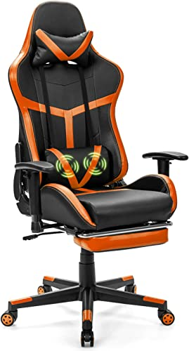 wholesale Giantex Computer Gaming Chair, wholesale Adjustable Massage Gaming Chair w/Footrest and Adjustable Armrests, Ergonomic High Back outlet sale Racing Chair, Executive Swivel Desk Office Chair with Massage Lumbar (Orange) online