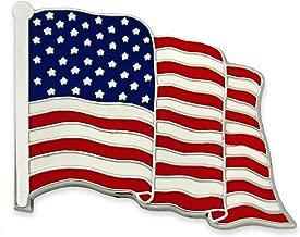PinMart Made in USA Waving American Flag Enamel Lapel Pin - Silver