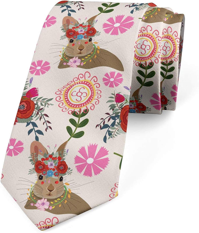 Ambesonne Men's Tie, Bunny with Floral Headdress, Necktie, 3.7