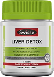 Swisse Liver Cleanse & Detox Supplement   Formula Supports & Repairs Liver Health & Function   Relief for Indigestion & Bl...