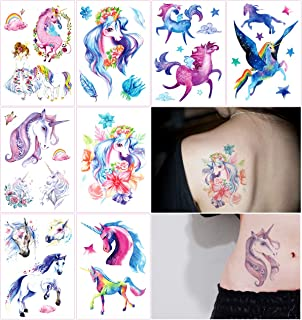 26552952c Oottati 8 Sheets Temporary Tattoo Arm Leg Fake Stickers - Hand Paint Fairy  Tales Horse Wing