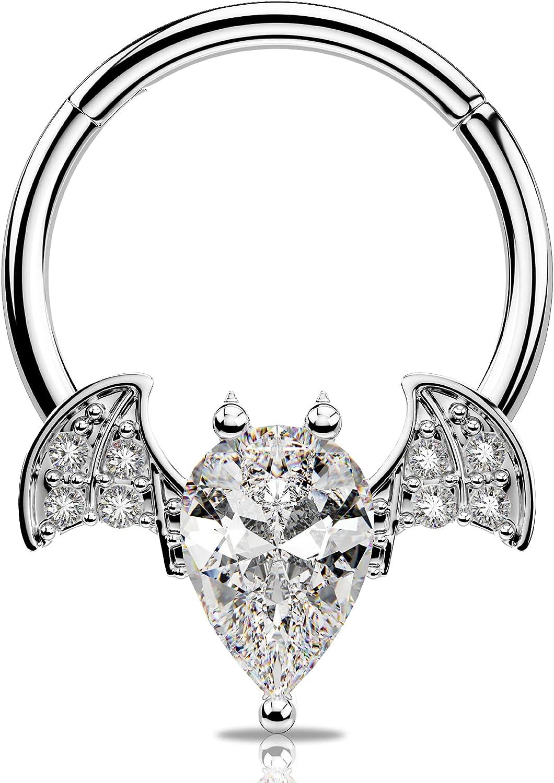 JEWSEEN Septum Ring Bat Hinged Segmetn Ring Clear CZ Cartilage Hoop 316L Stainless Steel Helix Hoop Earrings 16G Daith Tragus Earrings Body Piercing Jewelry for Halloween Day