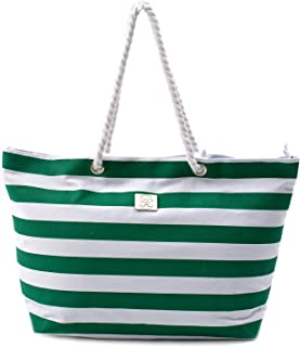 Large Canvas Beach Bag - Top Zipper Closure - Waterproof Lining - Perfect Tote Bag For Holidays (Green)