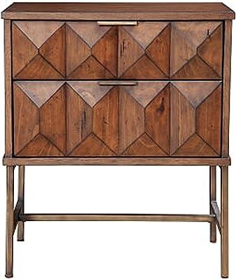Benjara 2 Drawer Nightstand with Honeycomb Design and Metal Legs, Brown