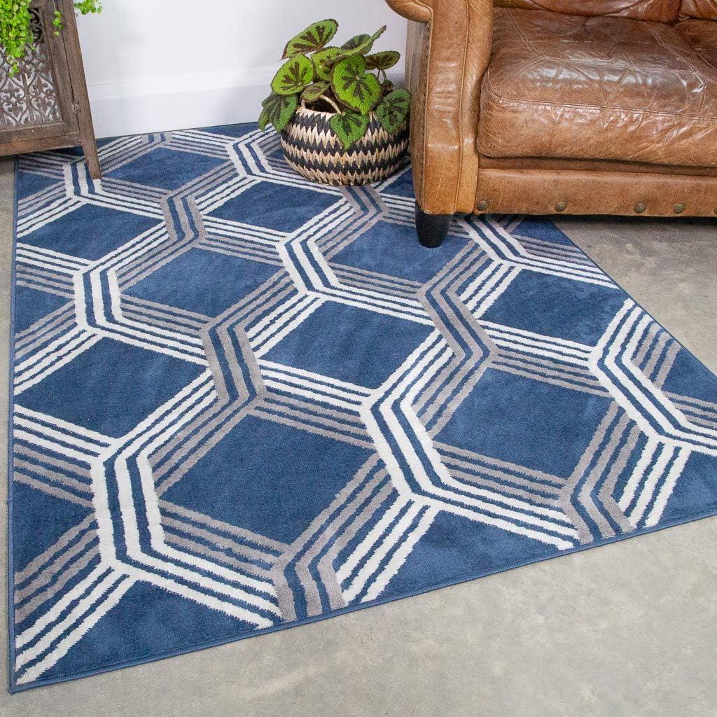 期間限定 Navy Blue Trellis 返品送料無料 Rug Indigo Geometric Living Modern Room Linier